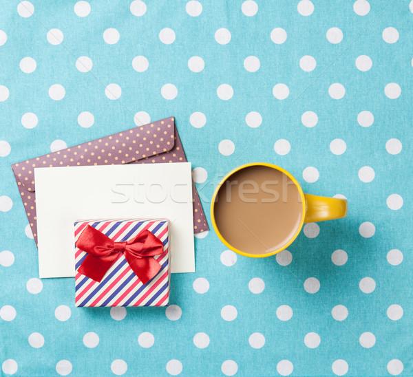 Copo café envelope caixas de presente azul Foto stock © Massonforstock