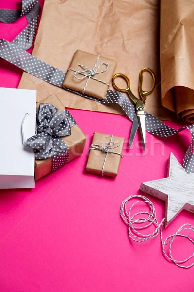 Сток-фото: Cute · подарки · звездой · игрушку · корзина