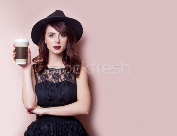美しい 若い女性 カップ コーヒー 素晴らしい ピンク ストックフォト © Massonforstock