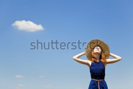 Сток-фото: девушки · ретро · камеры · Blue · Sky · небе