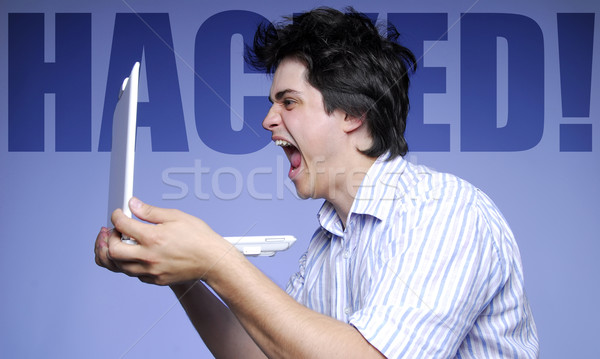 Mannen huilen dieven database computer gezicht Stockfoto © Massonforstock