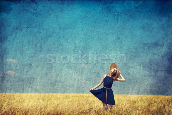 Magányos lány bőrönd vidék fotó öreg Stock fotó © Massonforstock