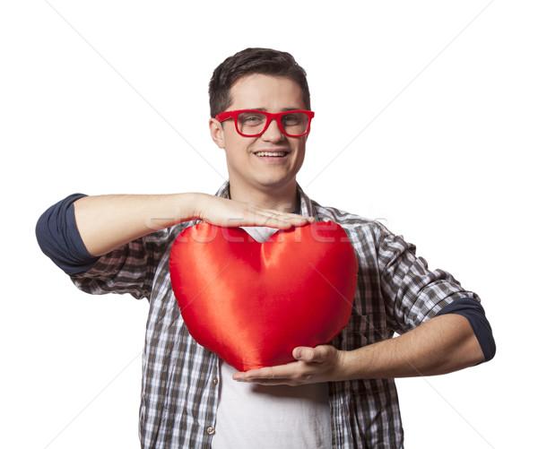 Ritratto giovane a forma di cuore felice sfondo segno Foto d'archivio © Massonforstock