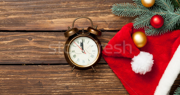 Alarm-clock and christmas baubles  Stock photo © Massonforstock