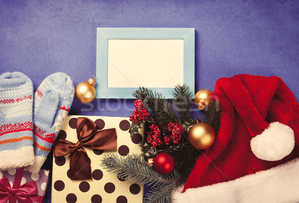Photo frame and christmas gifts  Stock photo © Massonforstock