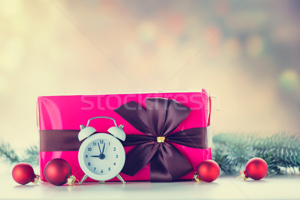 Christmas gift and baubles with clock Stock photo © Massonforstock
