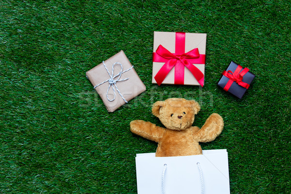 shopping bag, teddy bear and gifts Stock photo © Massonforstock