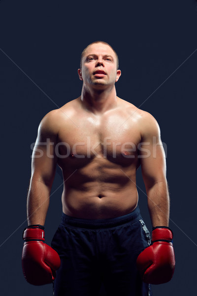 Muscular man - young caucasian boxer Stock photo © master1305