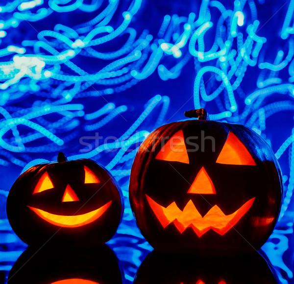 The two halloween pumpkins Stock photo © master1305