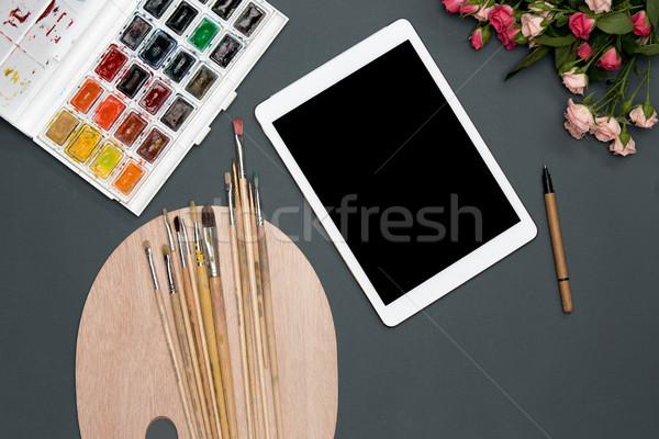Workspace художник ноутбука кисти цветы черный Сток-фото © master1305