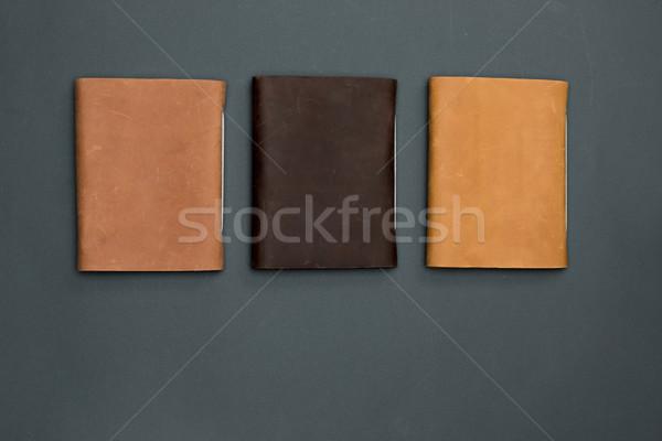 Irodai asztal asztal jegyzetfüzetek felső kilátás copy space Stock fotó © master1305