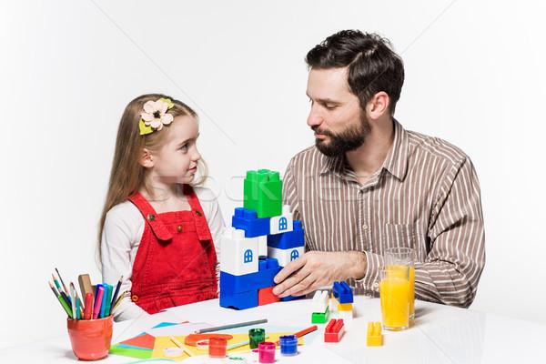 Padre figlia giocare educativo giochi insieme Foto d'archivio © master1305