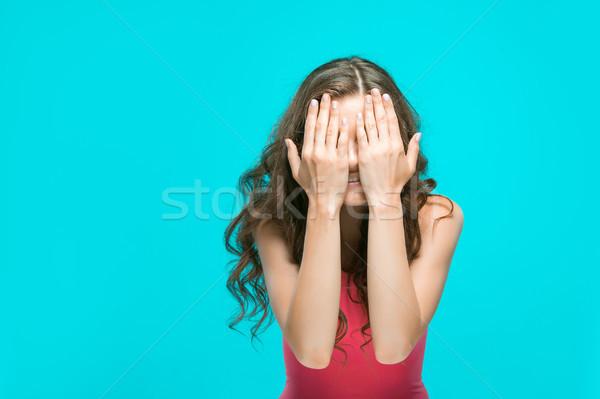 Fiatal portré csukott szemmel csukott szemmel kék arc Stock fotó © master1305