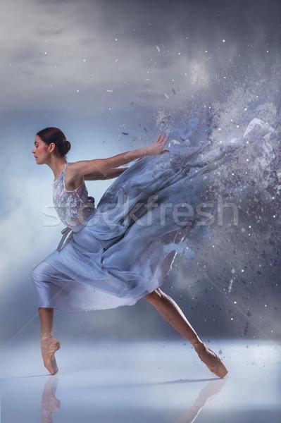 美しい バレリーナ ダンス 青 長い ドレス ストックフォト © master1305