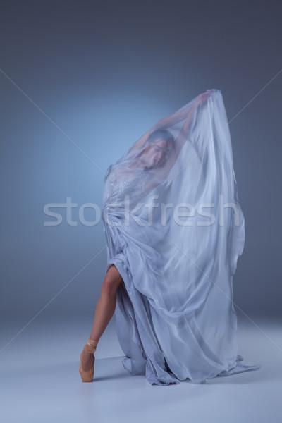 ストックフォト: 美しい · バレリーナ · ダンス · 青 · 長い · ドレス