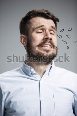 Zdjęcia stock: Portret · człowiek · szary · tekstury · biznesmen · młodych