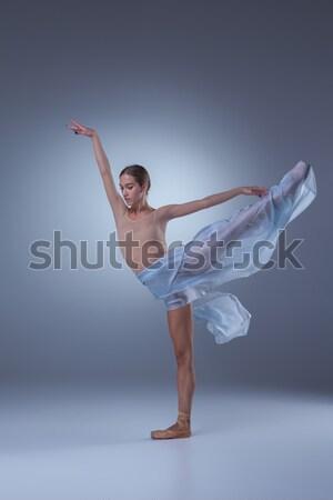 Gyönyörű ballerina tánc kék fátyol nő Stock fotó © master1305