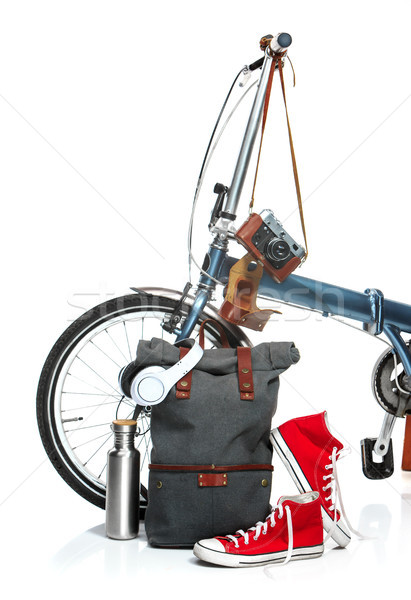 The new modern bicycle and suitcase, sneakers, thermos Stock photo © master1305