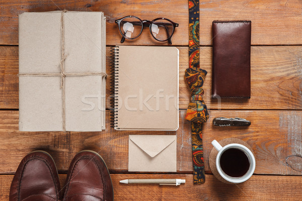 Men's accessories on the wooden table Stock photo © master1305