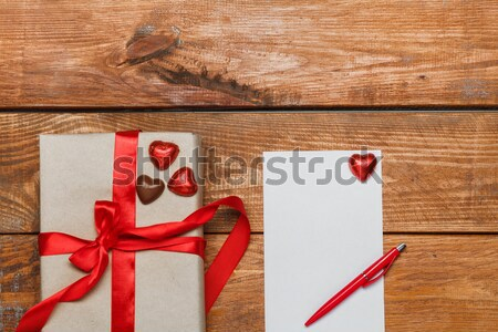 Vintage gift box with small hearts  on  wooden background Stock photo © master1305