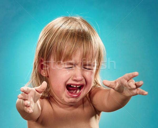 Foto d'archivio: Ritratto · bambina · piangere · blu · acqua · ragazza