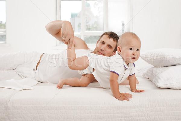 Fiatal apa kilenc hónapok öreg fiú Stock fotó © master1305