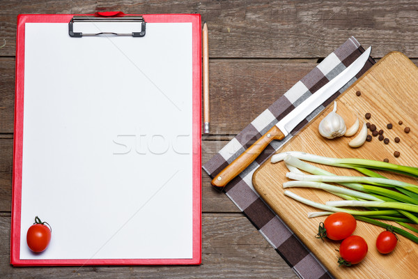 Open blank recipe book on brown wooden background Stock photo © master1305