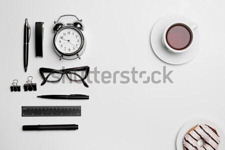 Klok pen bril witte business papier Stockfoto © master1305