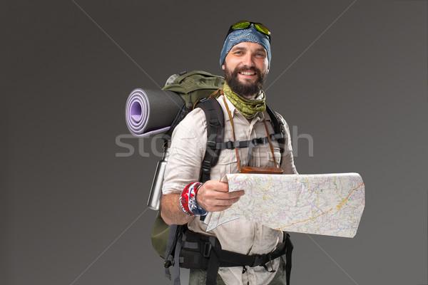 Сток-фото: портрет · мужчины · туристических · рюкзак · камеры · серый