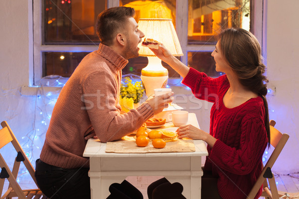 Stock photo: Portrait of romantic couple at Valentine's Day dinner