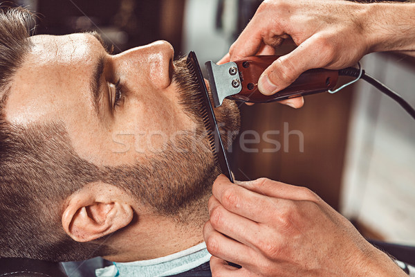Hipszter ügyfél fodrász bolt kezek fiatal Stock fotó © master1305