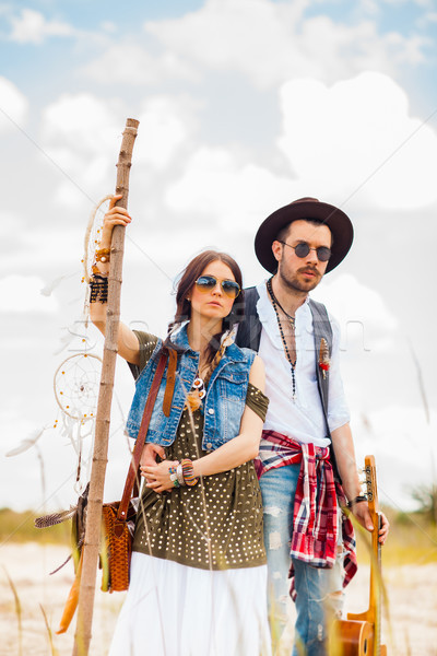Man and woman as boho hipsters against blue sky Stock photo © master1305