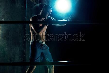 мужчины Боксер бокса темно студию спортсмена Сток-фото © master1305