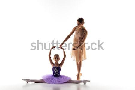 Weinig ballerina dansen persoonlijke ballet leraar Stockfoto © master1305