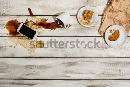 Cup of coffee spilled on wooden table Stock photo © master1305