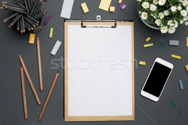 таблице карандашей телефон цветы Сток-фото © master1305