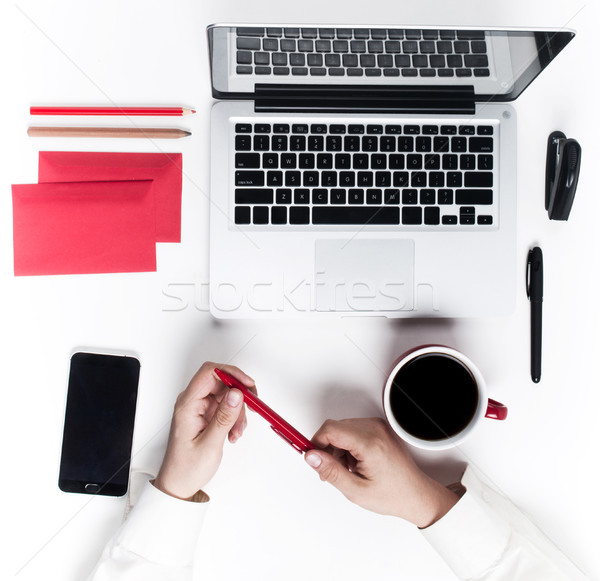 Lugar de trabajo oficina tecnología cómodo manos Foto stock © master1305
