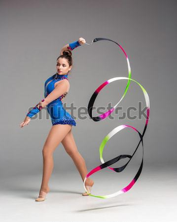 teenager doing gymnastics dance with ribbon Stock photo © master1305