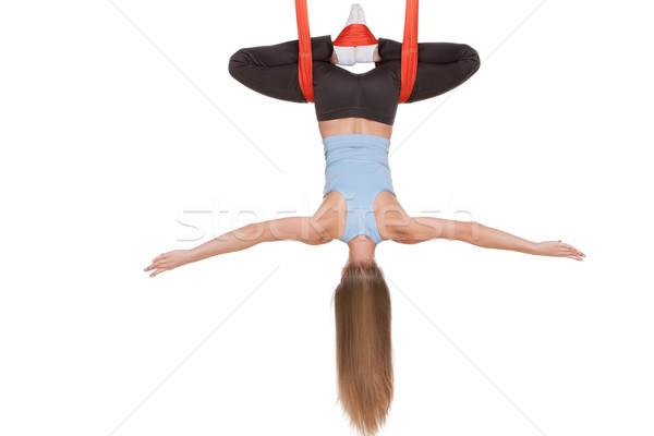 Fiatal nő légi jóga függőágy végtelenített fehér Stock fotó © master1305