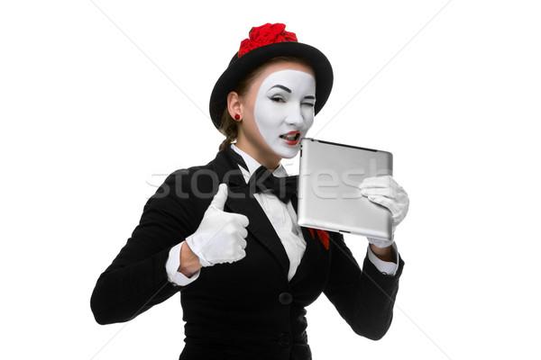 üzletasszony kép tart táblagép fog izolált Stock fotó © master1305