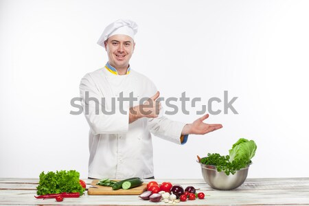 повар зеленый огурца кухне белый Сток-фото © master1305