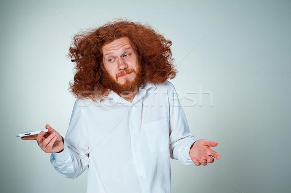 Portret onzeker man praten telefoon grijs Stockfoto © master1305