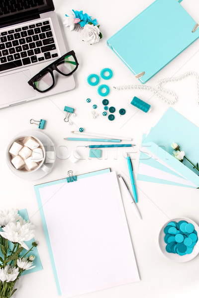 Martwa natura moda kobieta niebieski obiektów biały Zdjęcia stock © master1305
