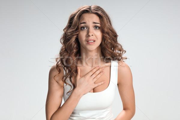 Nő néz szürke üzlet lány arc Stock fotó © master1305