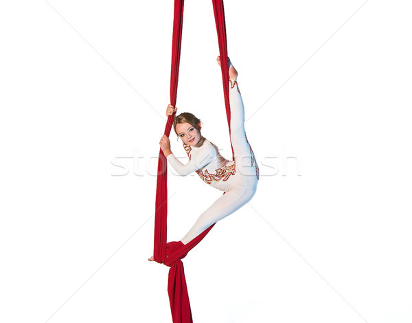 Graceful gymnast performing aerial exercise Stock photo © master1305