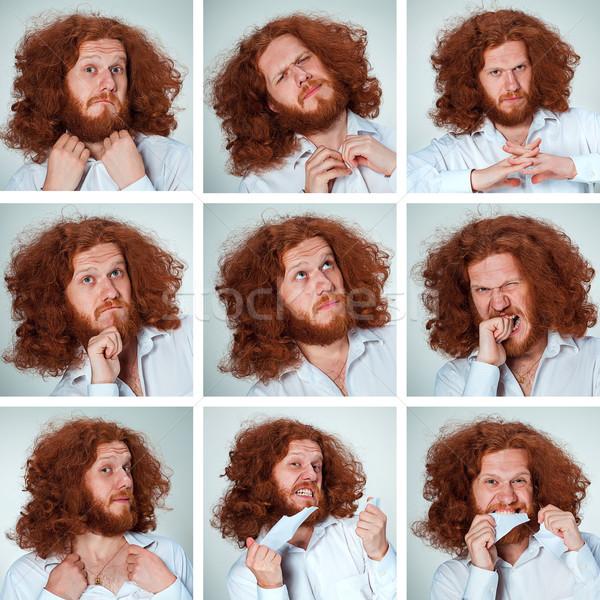 Fiatalember vicces arc kifejezések összetett szürke hosszú Stock fotó © master1305
