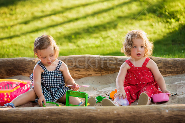 The two little baby girls playing toys in sand Stock photo © master1305