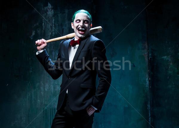 Bloody Halloween crazy Gesicht schwarz Baseballschläger Stock foto © master1305