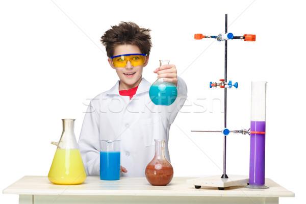 Piccolo ragazzo chimico esperimento chimica fluido Foto d'archivio © master1305