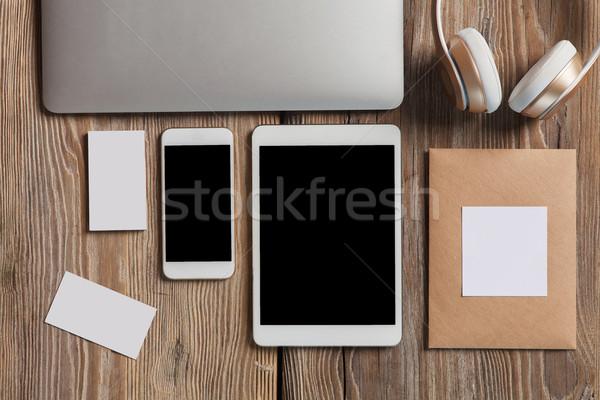 Stock fotó: Reszponzív · terv · vázlat · fából · készült · üzlet · telefon